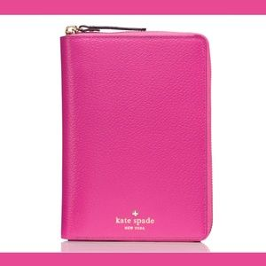 NEW Kate Spade Zip Leather organizer Planner Pink